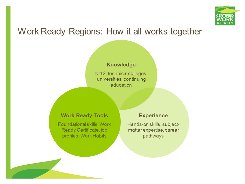 16 Work Ready Region scorecard Elimination of skills gap –Go for the Gold Attainment of Certified Work Ready Community status Quantifiable workforce p