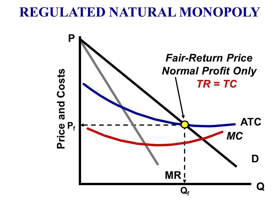 Q D MR MC ATC P Price and Costs Monopoly Price MR = MC QmQm PmPm REGULATED NATURAL MONOPOLY