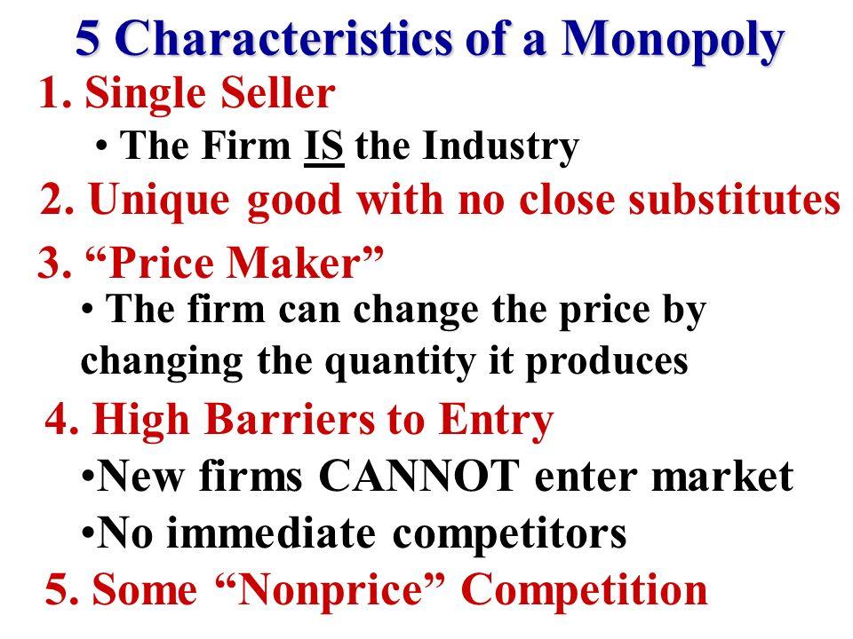 Characteristics of Monopolies