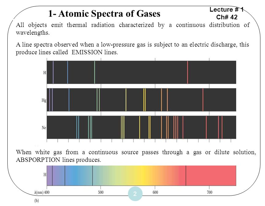 2 1- Atomic Spectra of Gases All objects emit thermal radiation characterized by a continuous distribution of wavelengths. A line spectra observed whe