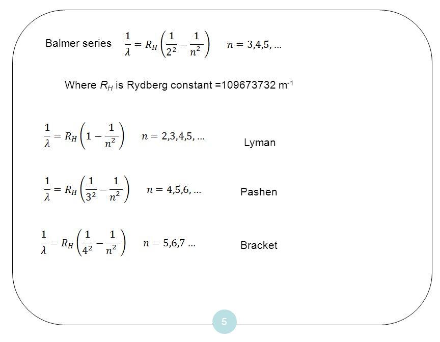 5 Balmer series Where R H is Rydberg constant =109673732 m -1 Pashen Bracket Lyman