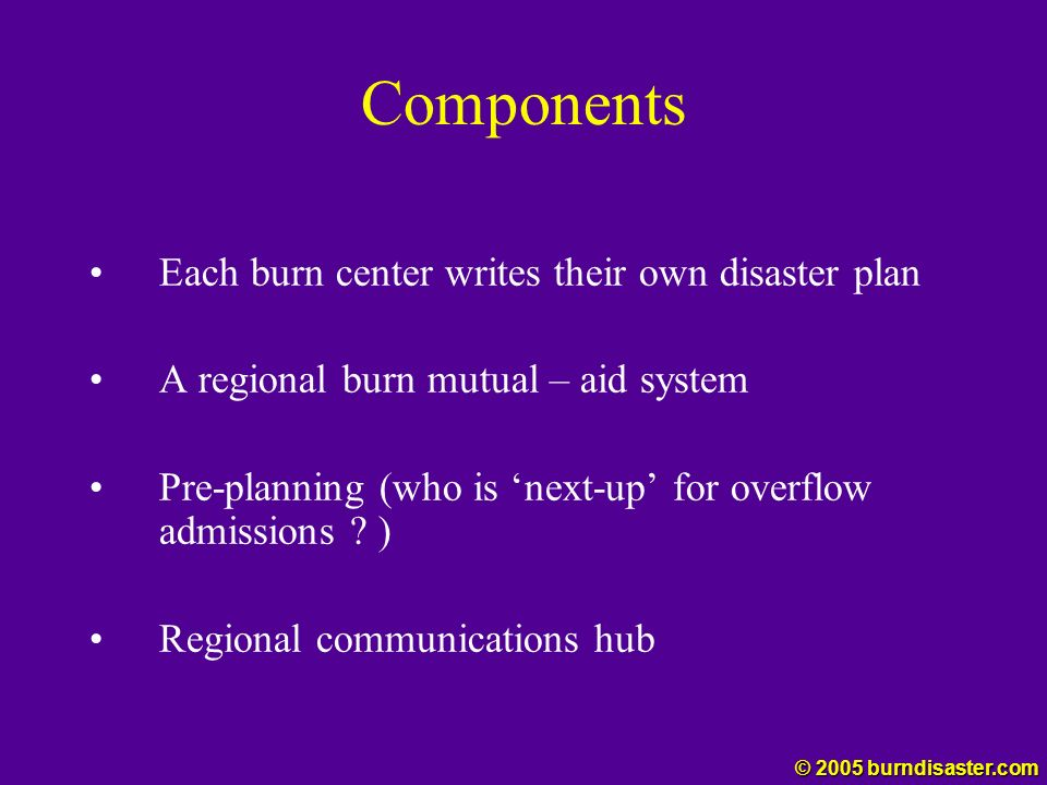 Components Each burn center writes their own disaster plan A regional burn mutual – aid system Pre-planning (who is next-up for overflow admissions ?