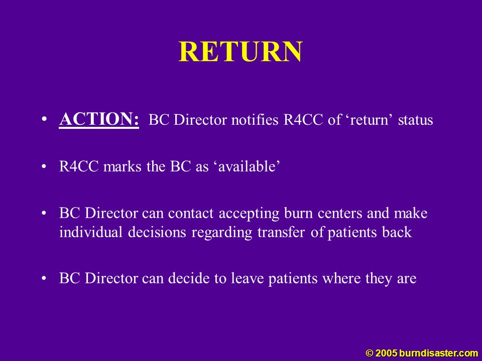 RETURN ACTION: BC Director notifies R4CC of return status R4CC marks the BC as available BC Director can contact accepting burn centers and make indiv