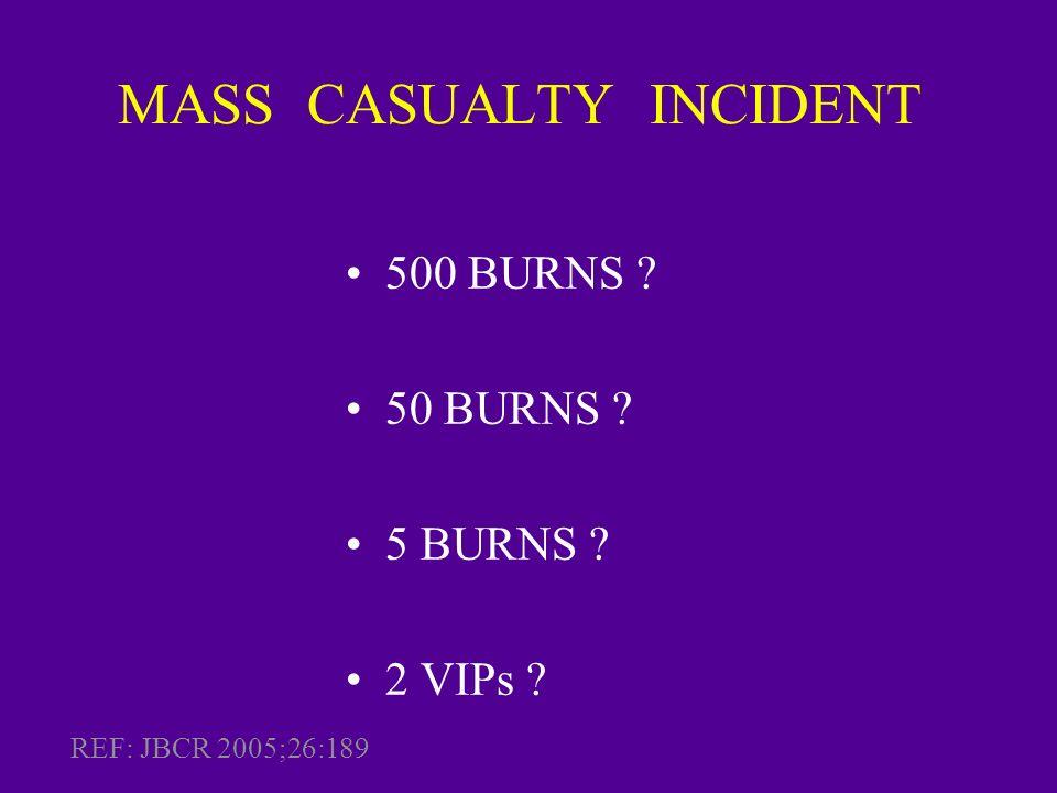 MASS CASUALTY INCIDENT 500 BURNS ? 50 BURNS ? 5 BURNS ? 2 VIPs ? REF: JBCR 2005;26:189