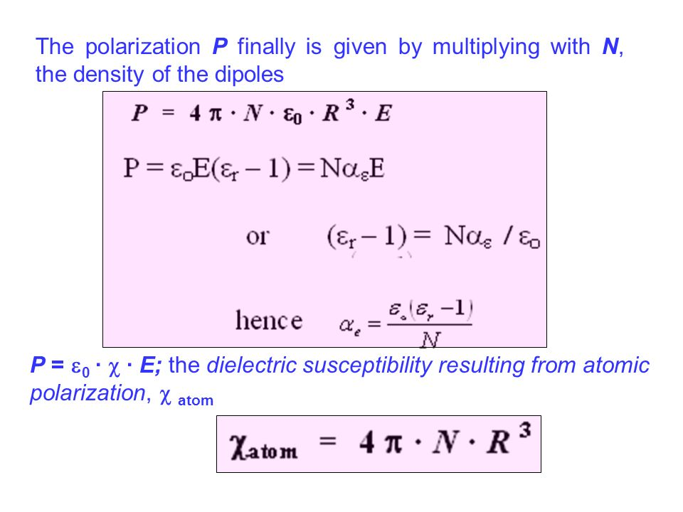The polarization P finally is given by multiplying with N, the density of the dipoles P = 0 · · E; the dielectric susceptibility resulting from atomic
