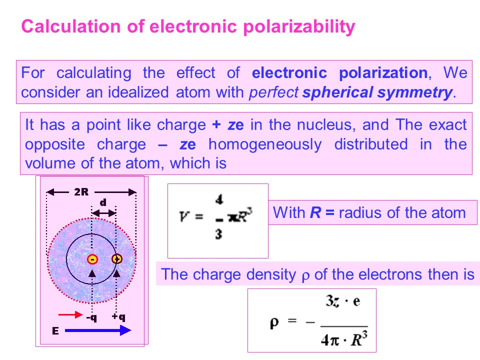 Calculation of electronic polarizability For calculating the effect of electronic polarization, We consider an idealized atom with perfect spherical s