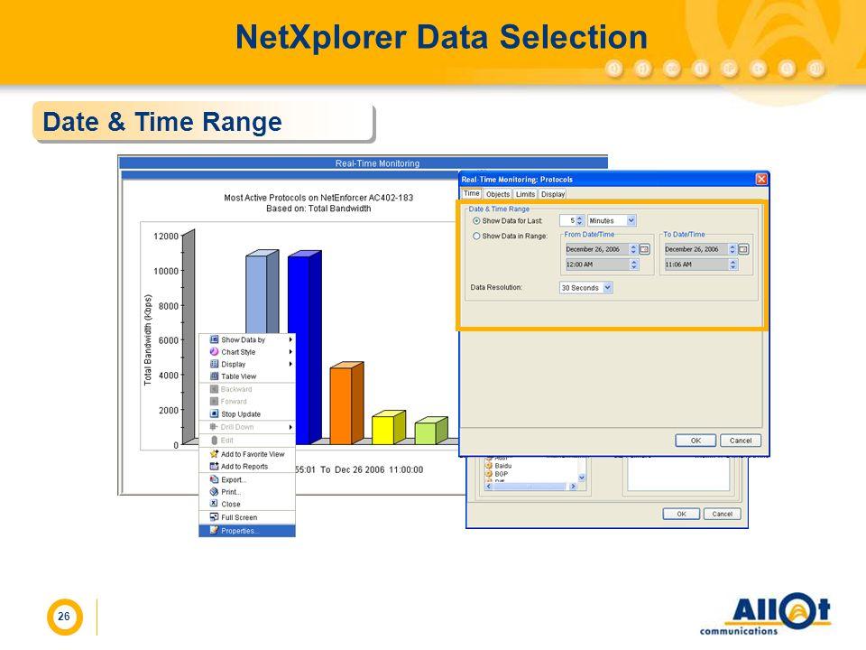 26 NetXplorer Data Selection Date & Time Range