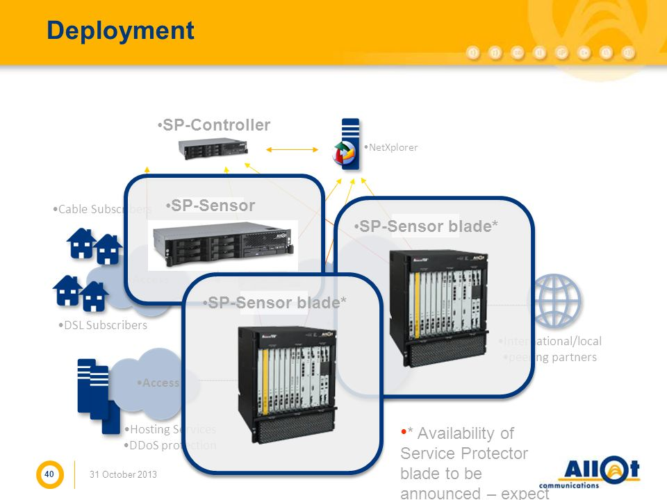 Deployment 40 31 October 2013 Core IP Network Access DSL Subscribers NetEnforcer Service Gateway Hosting Services DDoS protection International/local