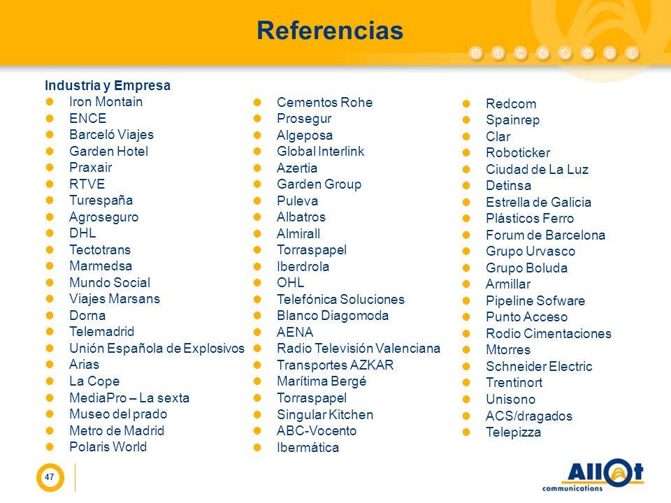 47 Referencias Industria y Empresa Iron Montain ENCE Barceló Viajes Garden Hotel Praxair RTVE Turespaña Agroseguro DHL Tectotrans Marmedsa Mundo Socia