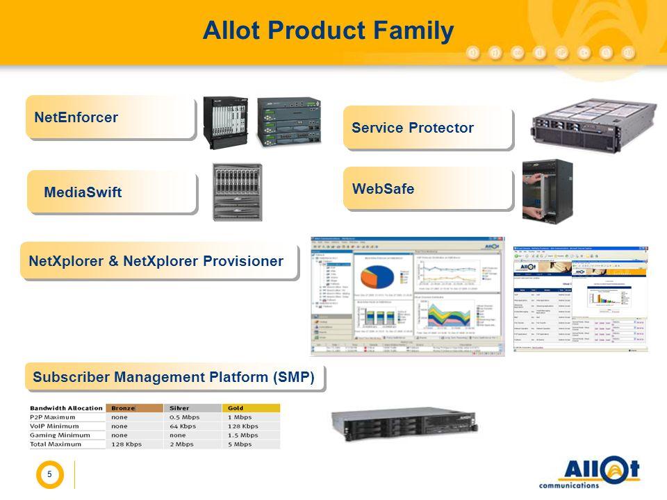 5 Allot Product Family Subscriber Management Platform (SMP) NetEnforcer NetXplorer & NetXplorer Provisioner Service Protector WebSafe