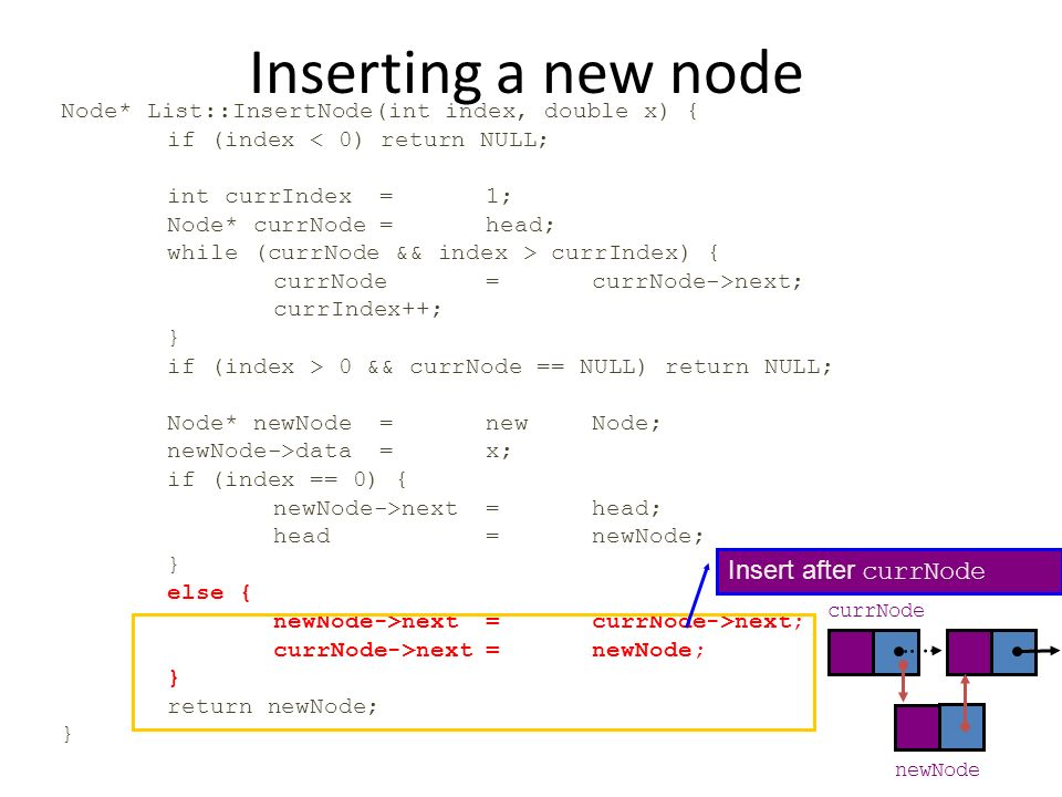 Inserting a new node Node* List::InsertNode(int index, double x) { if (index < 0) return NULL; int currIndex=1; Node* currNode=head; while (currNode &