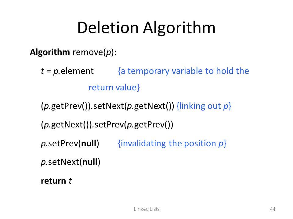 Linked Lists44 Deletion Algorithm Algorithm remove(p): t = p.element{a temporary variable to hold the return value} (p.getPrev()).setNext(p.getNext())