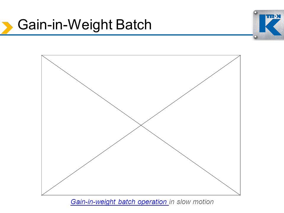 Gain-in-Weight Batch Gain-in-weight batch operation Gain-in-weight batch operation in slow motion