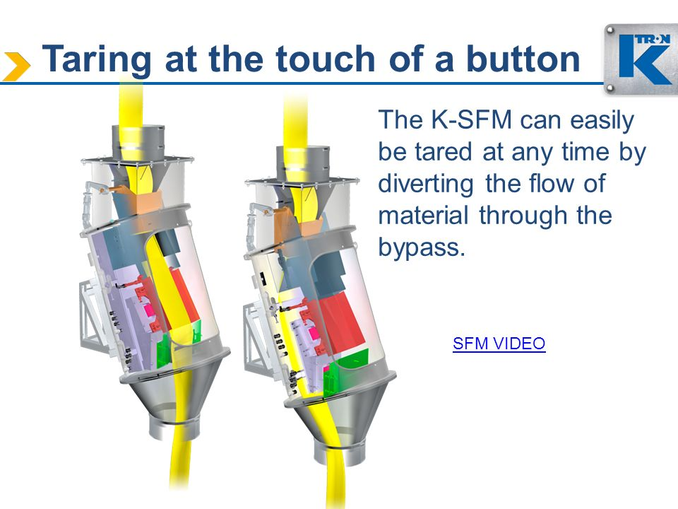 Taring at the touch of a button The K-SFM can easily be tared at any time by diverting the flow of material through the bypass. SFM VIDEO