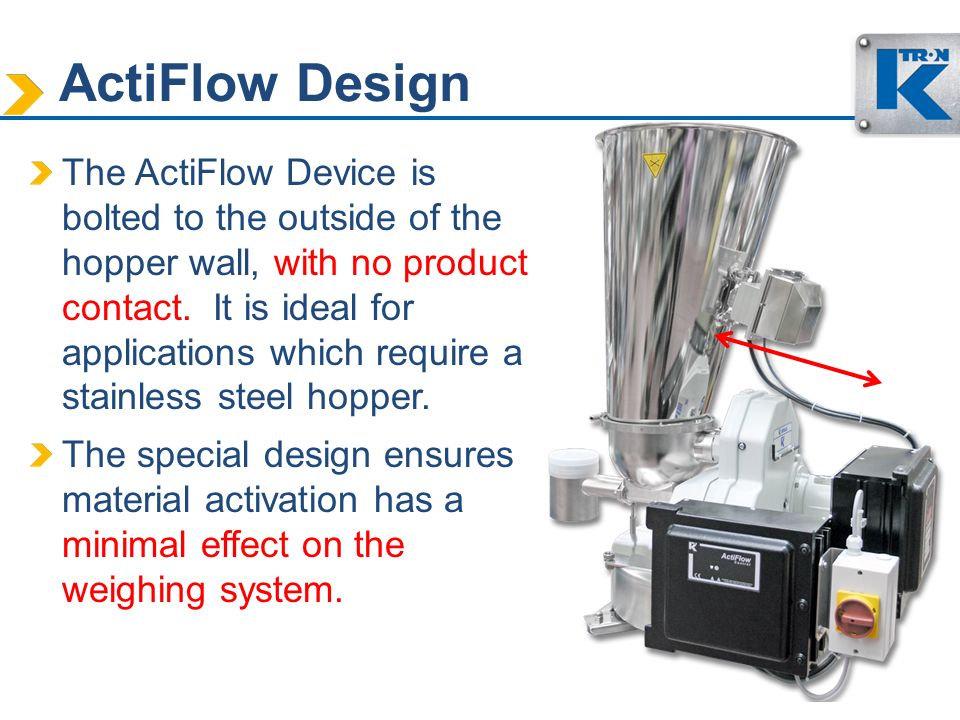 ActiFlow Design The ActiFlow Device is bolted to the outside of the hopper wall, with no product contact. It is ideal for applications which require a