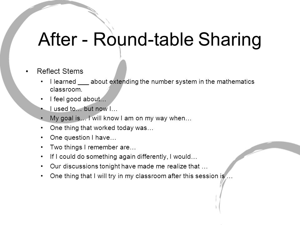 After - Round-table Sharing Reflect Stems I learned ___ about extending the number system in the mathematics classroom.