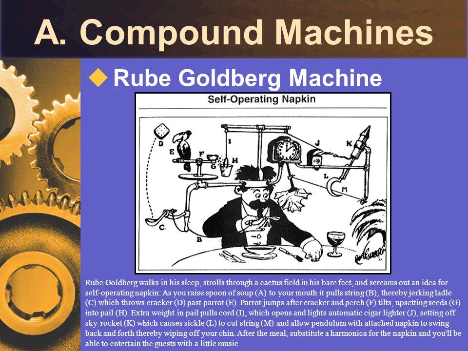 A. Compound Machines Rube Goldberg Machine Rube Goldberg walks in his sleep, strolls through a cactus field in his bare feet, and screams out an idea
