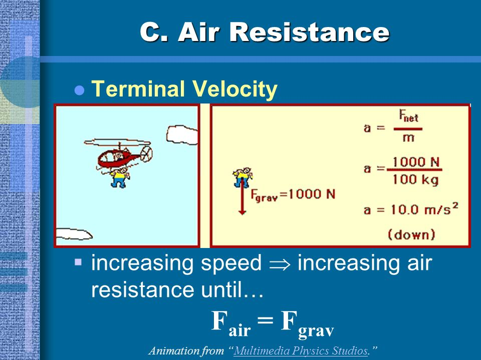 C. Air Resistance Terminal Velocity increasing speed increasing air resistance until… F air = F grav Animation from Multimedia Physics Studios.Multime