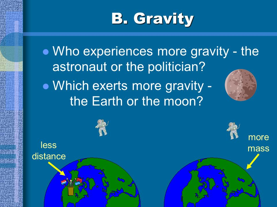 B.Gravity Who experiences more gravity - the astronaut or the politician.