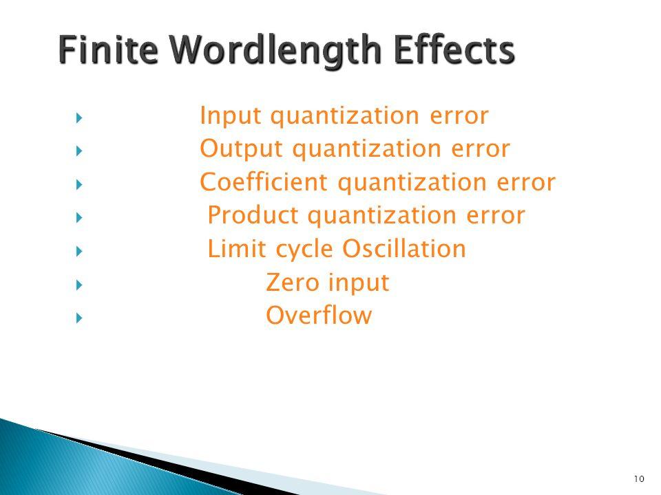 Input quantization error Output quantization error Coefficient quantization error Product quantization error Limit cycle Oscillation Zero input Overflow 10