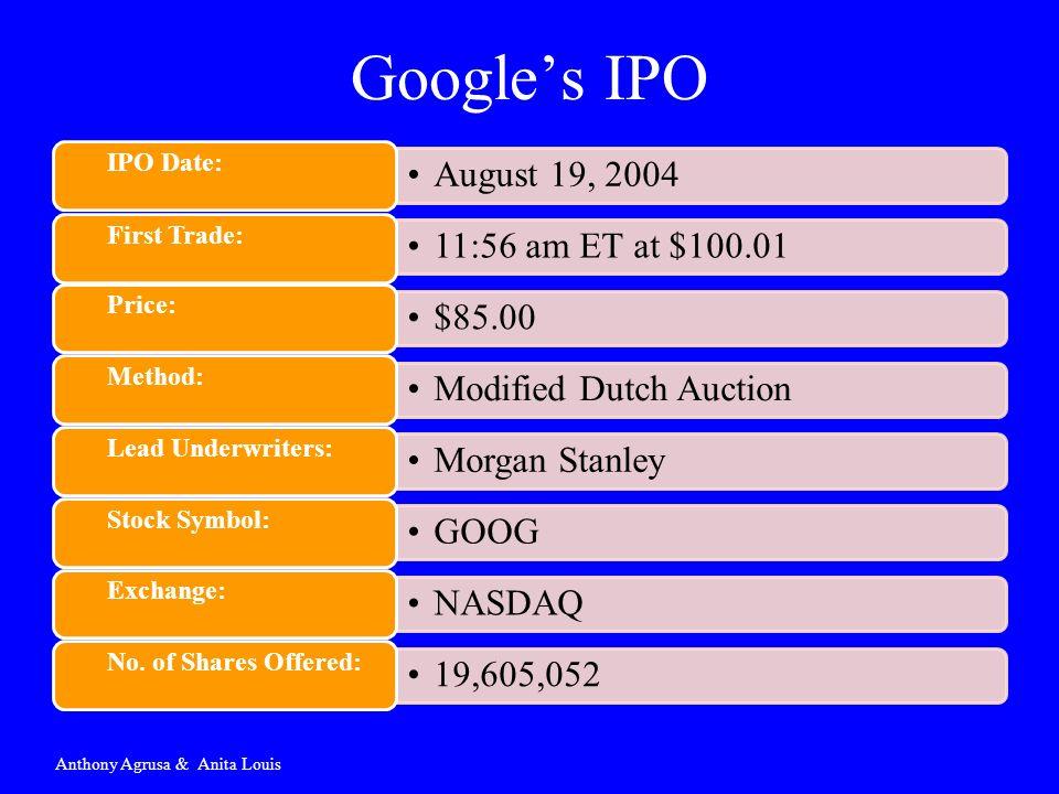 Googles IPO Anthony Agrusa & Anita Louis