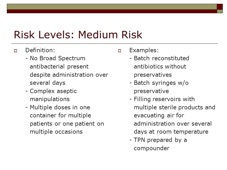 Risk Levels: Medium Risk Definition: - No Broad Spectrum antibacterial present despite administration over several days - Complex aseptic manipulation