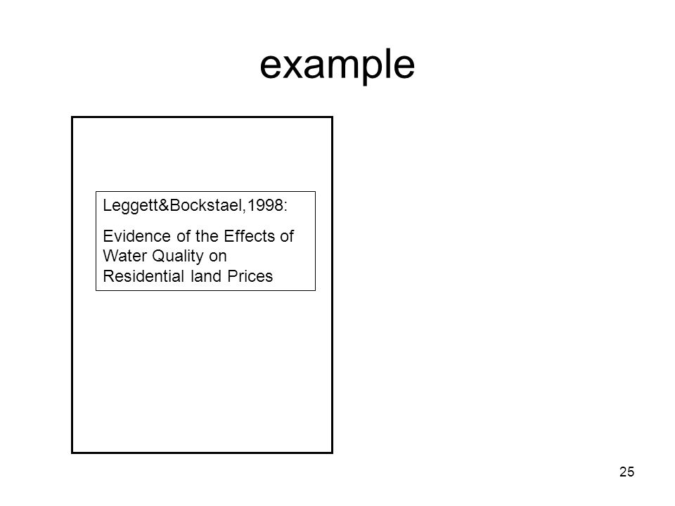 25 example Leggett&Bockstael,1998: Evidence of the Effects of Water Quality on Residential land Prices