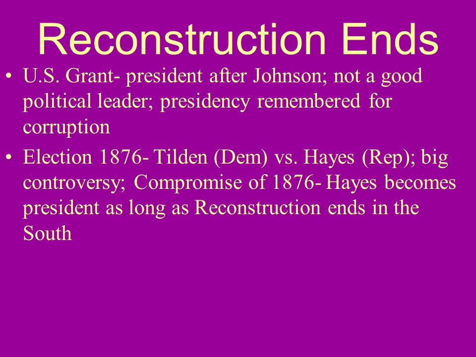 Reconstruction Ends U.S.