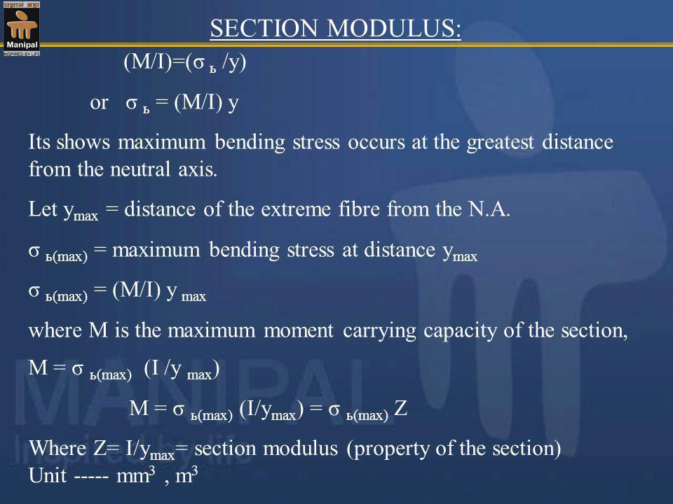 (M/I)=(σ ь /y) or σ ь = (M/I) y Its shows maximum bending stress occurs at the greatest distance from the neutral axis. Let y max = distance of the ex