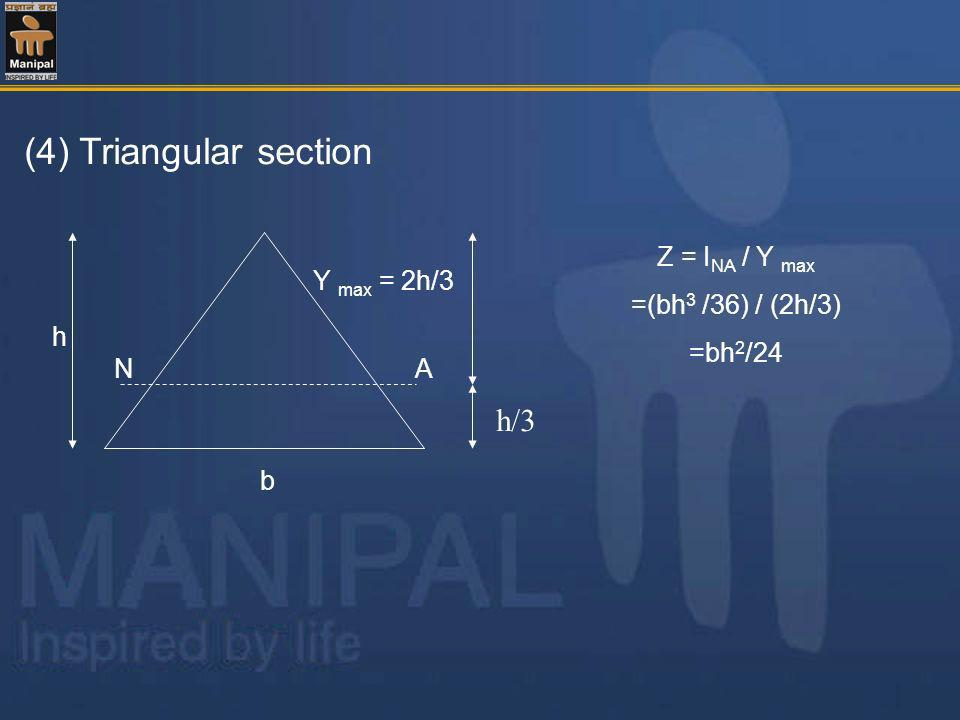 (4) Triangular section b h NA Y max = 2h/3 Z = I NA / Y max =(bh 3 /36) / (2h/3) =bh 2 /24 h/3