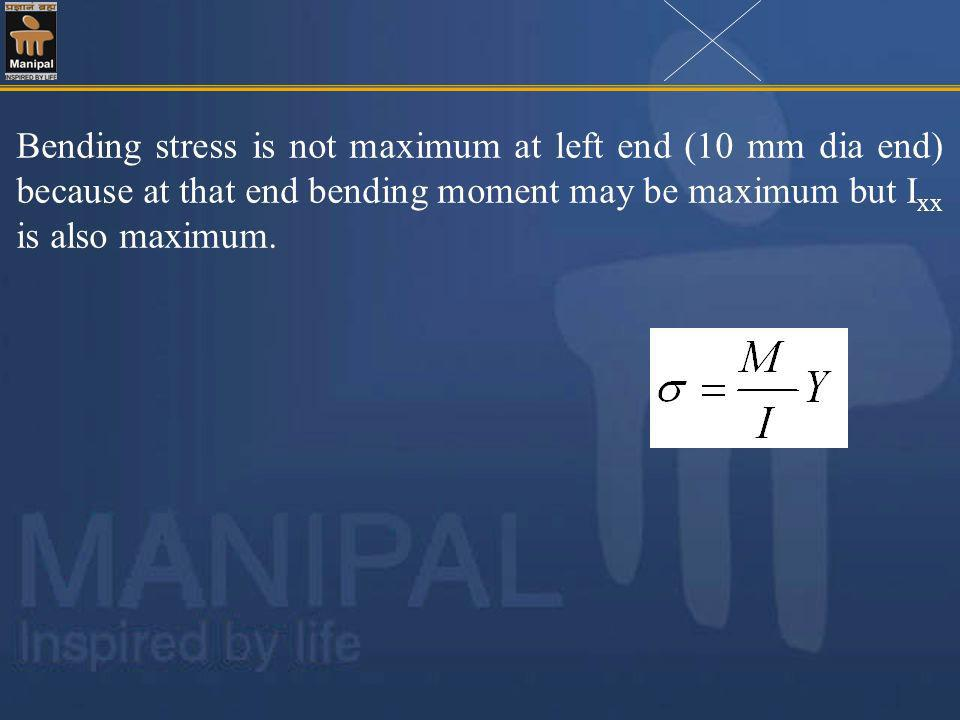 Bending stress is not maximum at left end (10 mm dia end) because at that end bending moment may be maximum but I xx is also maximum.