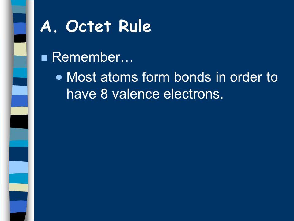 Hydrogen 2 valence e - Groups 1,2,3 get 2,4,6 valence e - Expanded octet more than 8 valence e - (e.g.