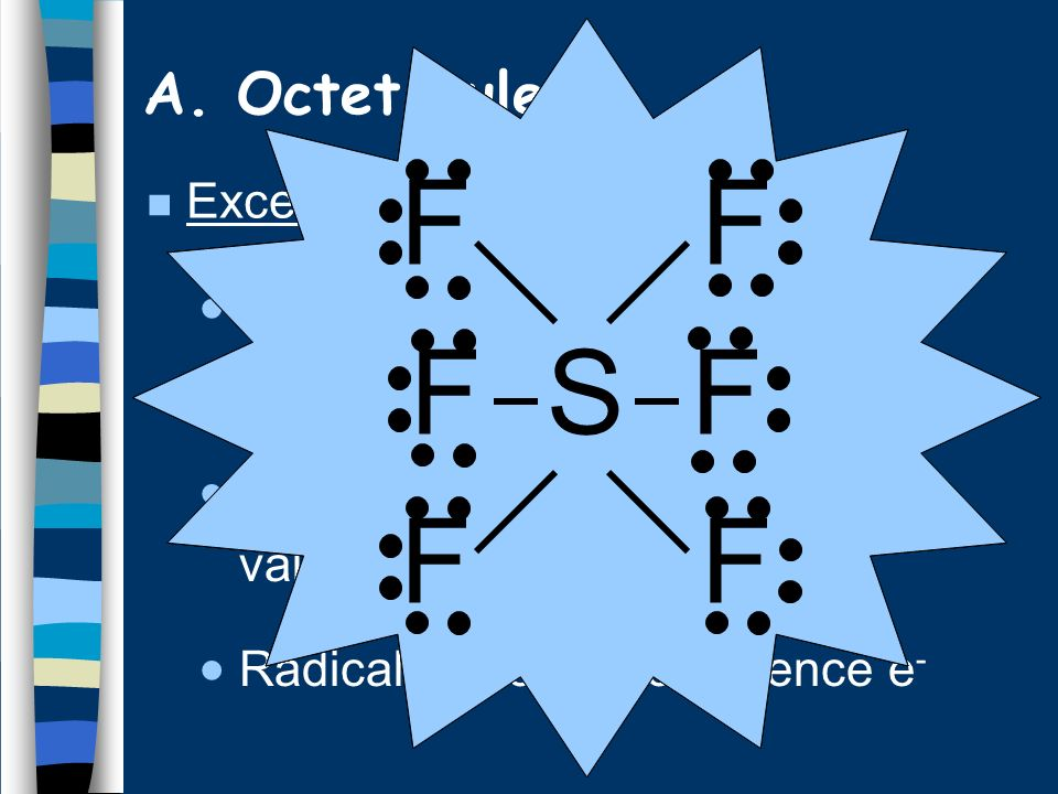 Hydrogen 2 valence e - Groups 1,2,3 get 2,4,6 valence e - Expanded octet more than 8 valence e - (e.g.