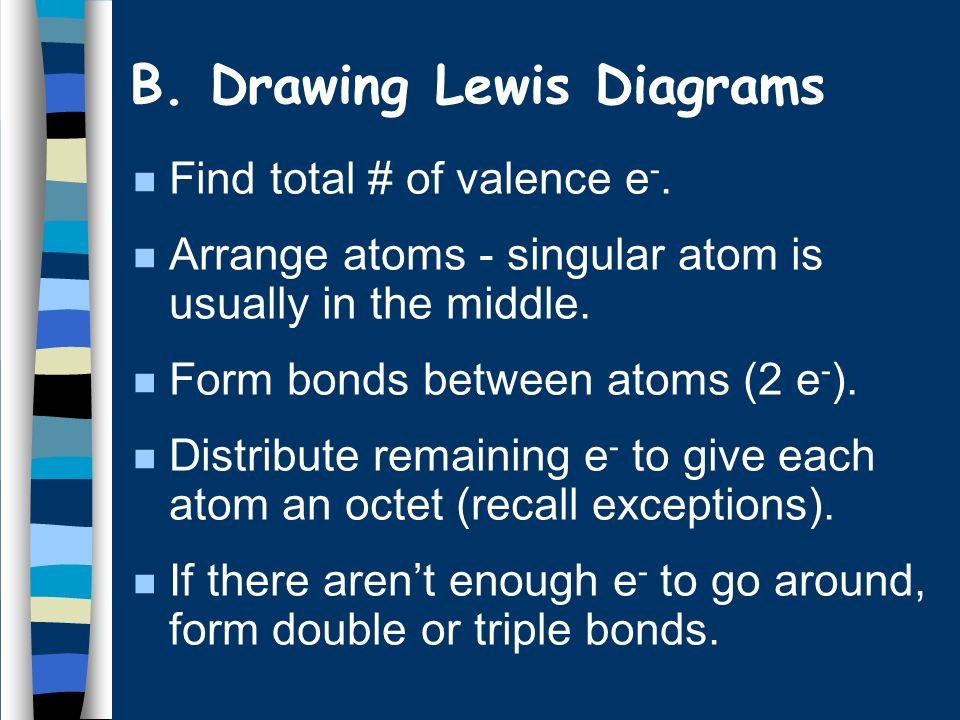 B. Drawing Lewis Diagrams n CF 4 1 C × 4e - = 4e - 4 F × 7e - = 28e - 32e - F F C F F - 8e - 24e -