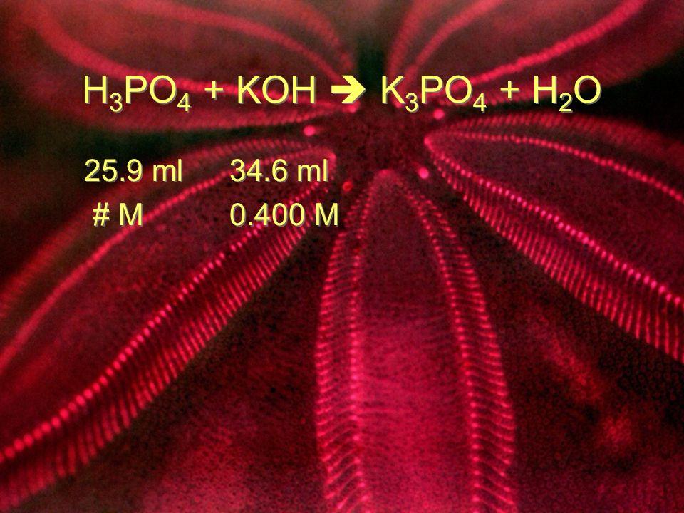H 3 PO 4 + KOH K 3 PO 4 + H 2 O 25.9 ml 34.6 ml # M 0.400 M 25.9 ml 34.6 ml # M 0.400 M