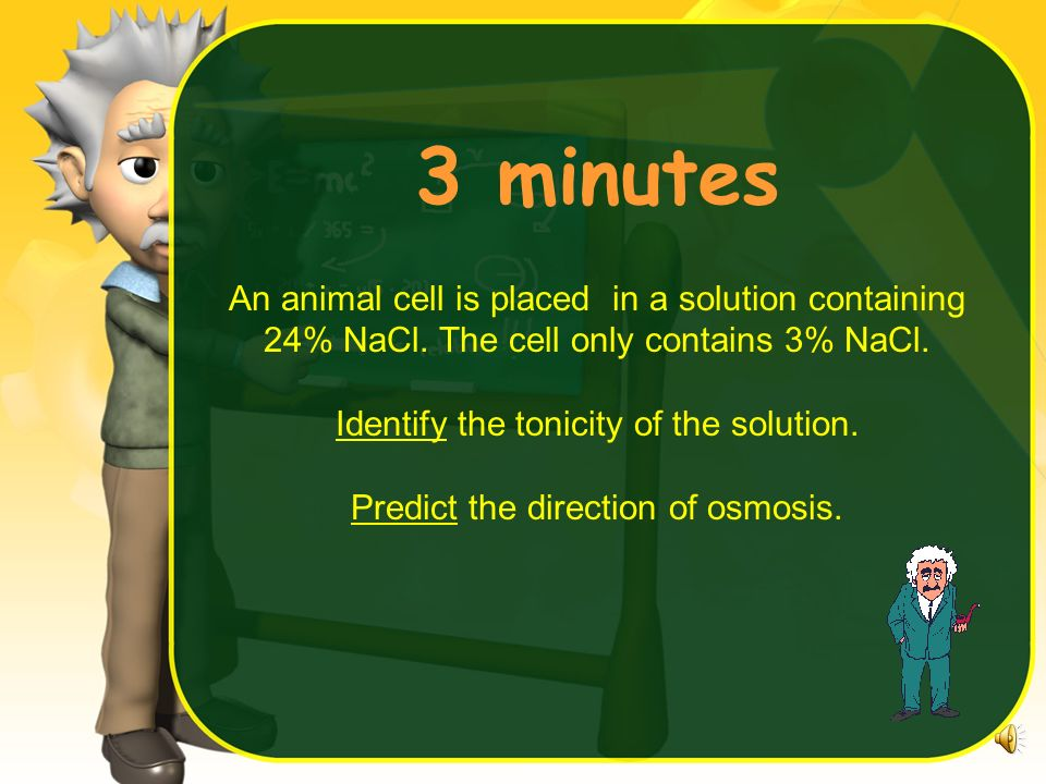 4 minutes An animal cell is placed in a solution containing 24% NaCl. The cell only contains 3% NaCl. Identify the tonicity of the solution. Predict t