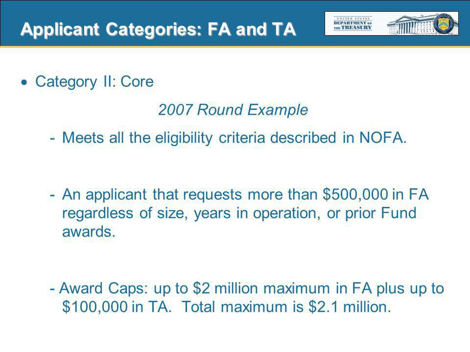 9 Applicant Categories: TA TA Only - A TA grant allows a CDFI or an entity proposing to become a CDFI to build its capacity to serve its Target Market.