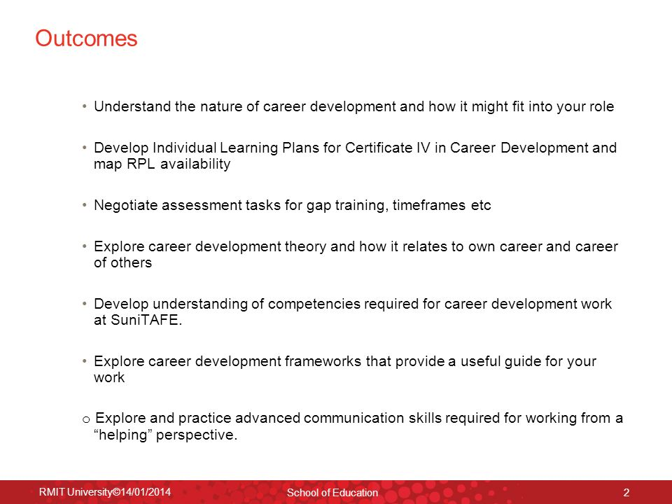 RMIT University©14/01/2014 School of Education 2 Outcomes Understand the nature of career development and how it might fit into your role Develop Indi