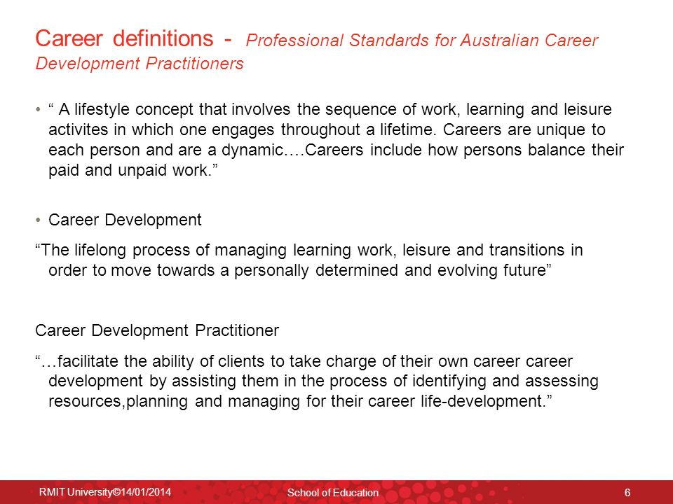 RMIT University©14/01/2014 School of Education 6 Career definitions - Professional Standards for Australian Career Development Practitioners A lifesty