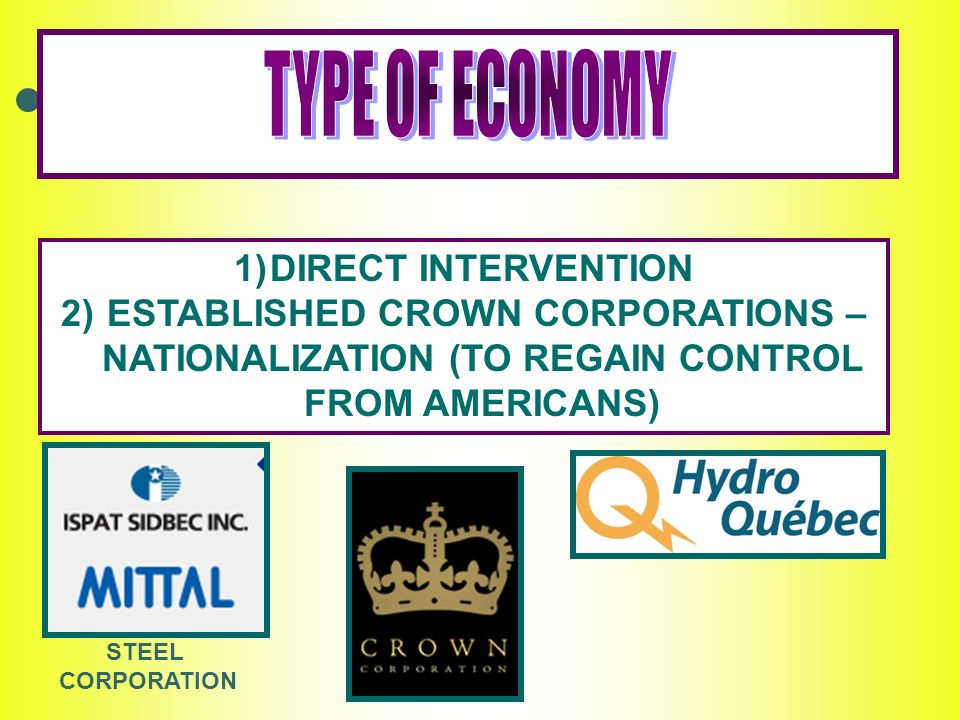 1)DIRECT INTERVENTION 2) ESTABLISHED CROWN CORPORATIONS – NATIONALIZATION (TO REGAIN CONTROL FROM AMERICANS) STEEL CORPORATION