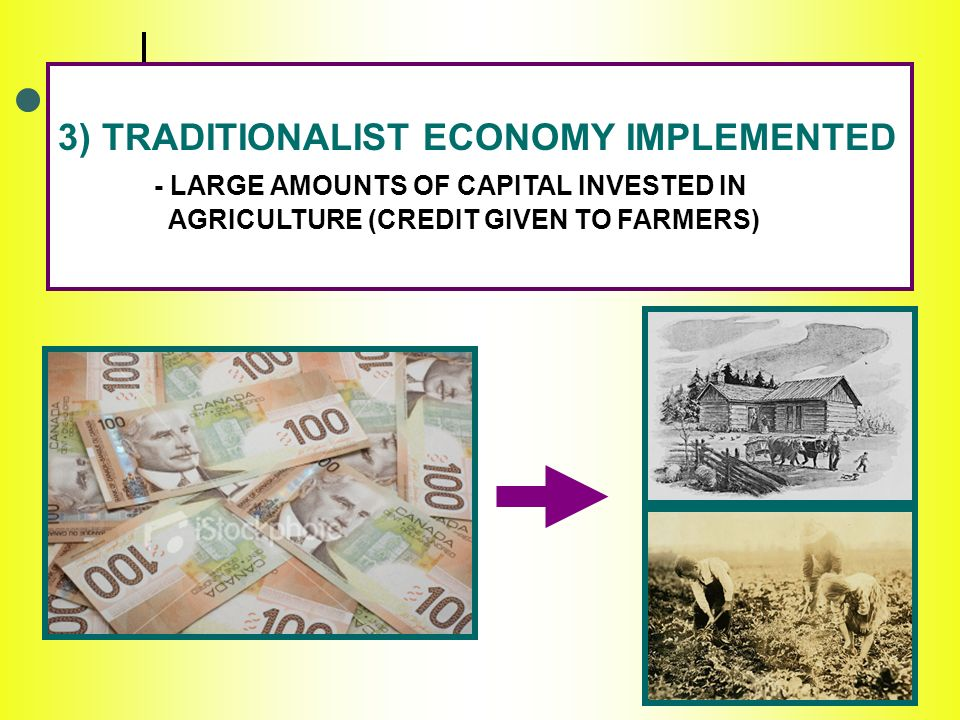 3) TRADITIONALIST ECONOMY IMPLEMENTED - LARGE AMOUNTS OF CAPITAL INVESTED IN AGRICULTURE (CREDIT GIVEN TO FARMERS)