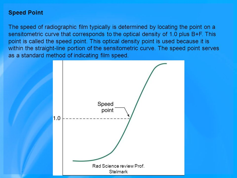 Speed Point The speed of radiographic film typically is determined by locating the point on a sensitometric curve that corresponds to the optical dens