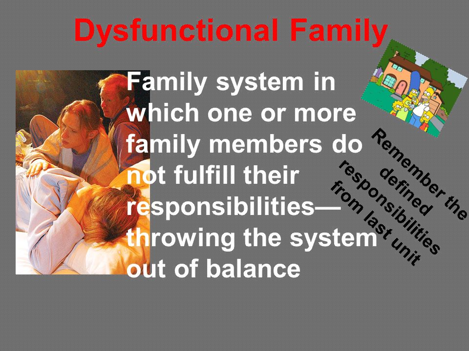 Dysfunctional Family Family system in which one or more family members do not fulfill their responsibilities throwing the system out of balance Remember the defined responsibilities from last unit