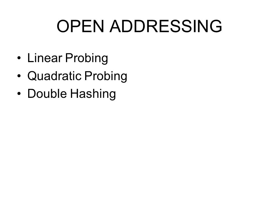 OPEN ADDRESSING Linear Probing Quadratic Probing Double Hashing
