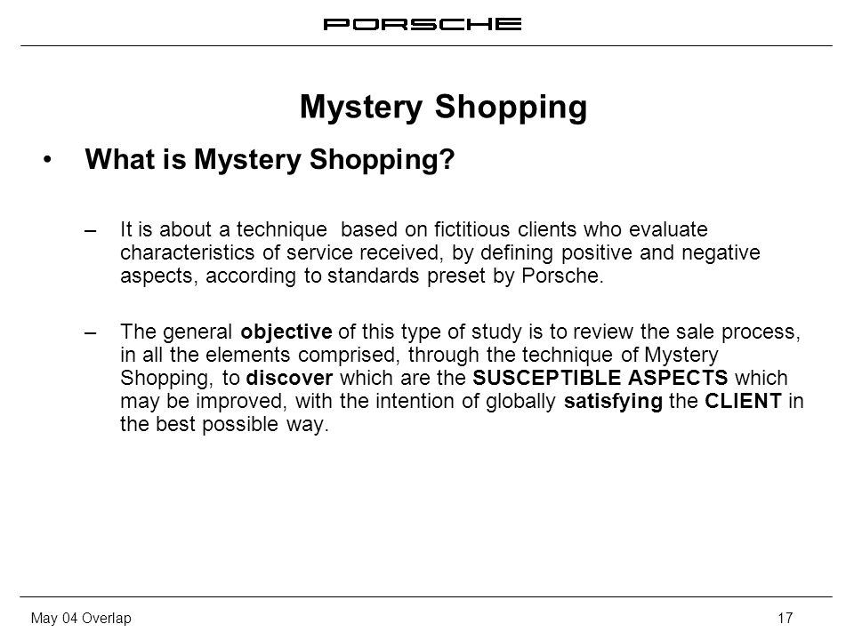 May 04 Overlap17 What is Mystery Shopping? – It is about a technique based on fictitious clients who evaluate characteristics of service received, by