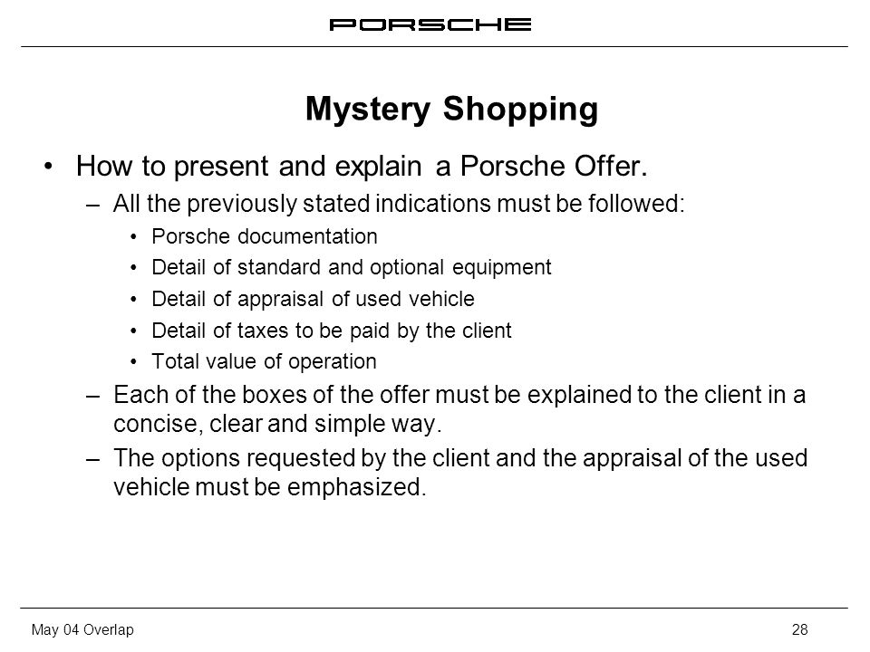 May 04 Overlap28 How to present and explain a Porsche Offer. – All the previously stated indications must be followed: Porsche documentation Detail of