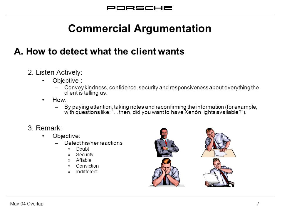 May 04 Overlap7 Commercial Argumentation A. How to detect what the client wants 2. Listen Actively: Objective : – Convey kindness, confidence, securit