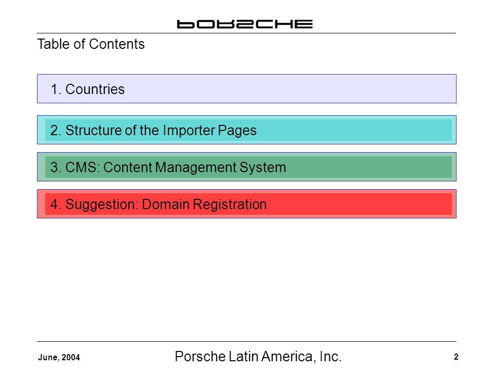 Porsche Latin America, Inc. 2 June, 2004 Table of Contents 1.