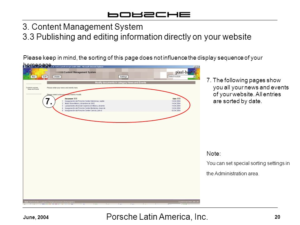Porsche Latin America, Inc. 20 June, 2004 3.