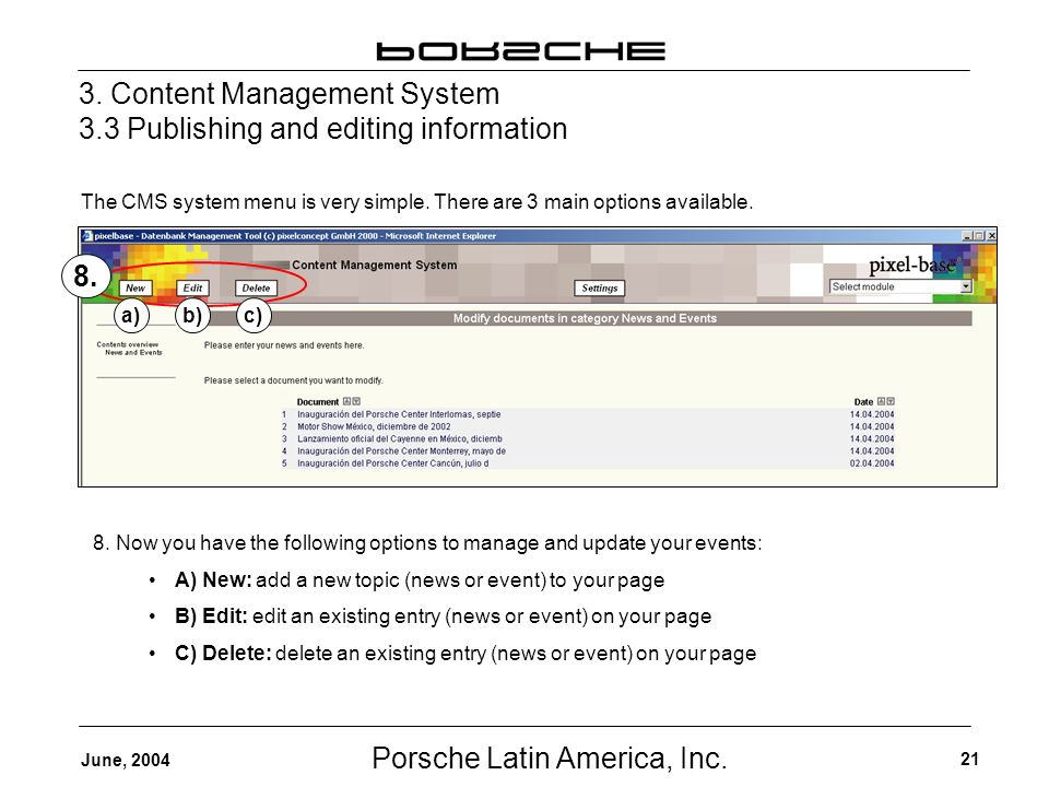 Porsche Latin America, Inc. 21 June, 2004 3.